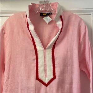 Guru linen tunic dress pink size large